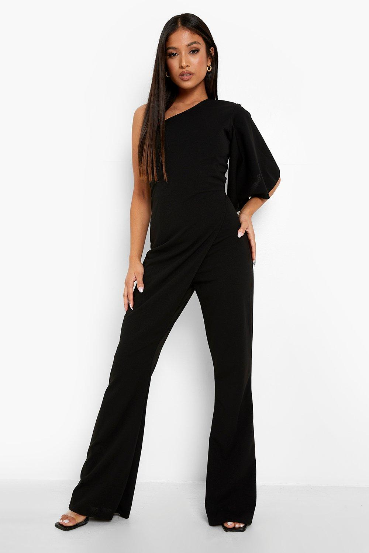 70s Jumpsuit   Disco Jumpsuits, Sequin Rompers Womens Petite One Shoulder Wrap Jumpsuit - Black - 12 $20.00 AT vintagedancer.com