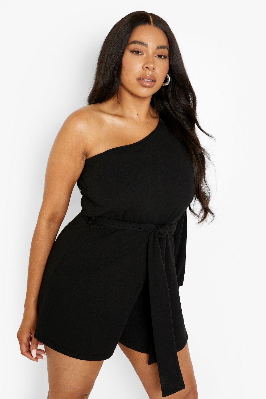 70s Clothes | Hippie Clothes & Outfits Womens Plus One Shoulder Belted Romper - Black - 16 $22.00 AT vintagedancer.com