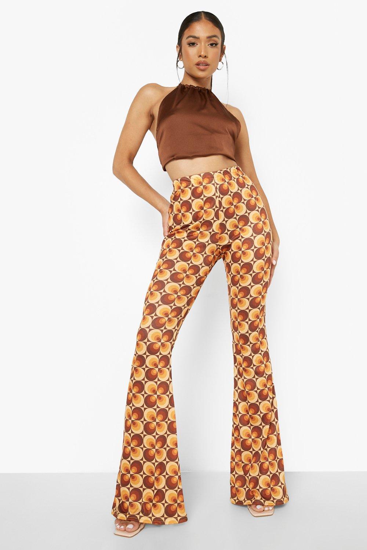60s Pants, Jeans, Hippie, Flares, Jumpsuits Womens Petite Retro 70S Flare - Brown - 10 $12.00 AT vintagedancer.com