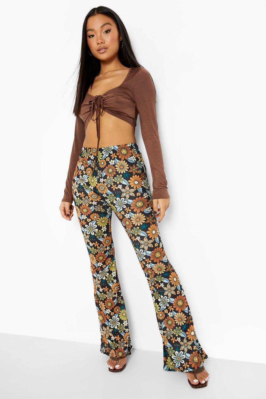 60s Pants, Jeans, Hippie, Flares, Jumpsuits Womens Petite Retro Daisy Print Flare - Black - 12 $12.80 AT vintagedancer.com