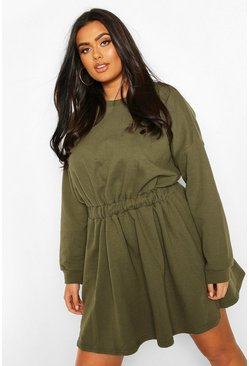 Khaki Plus Elasticated Waist Sweat Dress