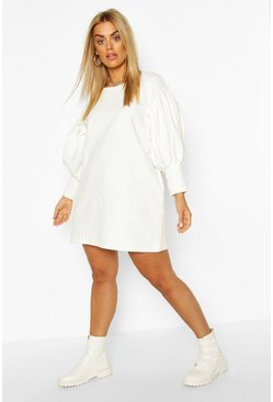 Ecru Plus Puff Sleeved Sweat Dress