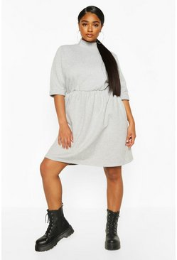 Grey marl Plus High Neck Sweat Smock Dress