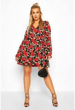 Black Plus Floral Rose Tiered Smock Dress