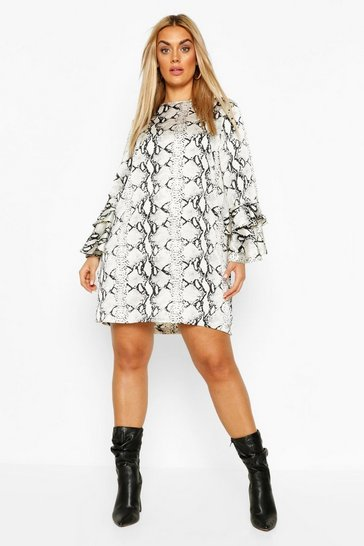 Grey Plus Snake Ruffle Sleeve Shift Dress