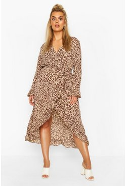 Chocolate Plus Leopard Ruffle Wrap Midi Dress