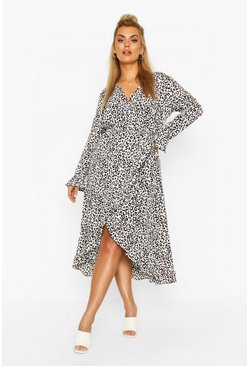White Plus Leopard Ruffle Wrap Midi Dress