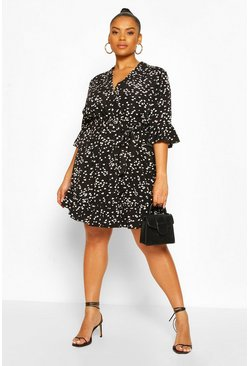 Black Plus Heart Printed Wrap Skater Dress