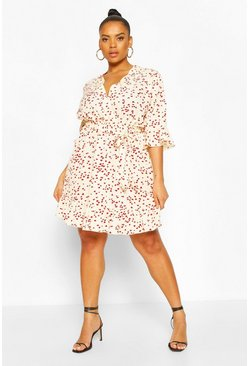 Cream Plus Heart Printed Wrap Skater Dress