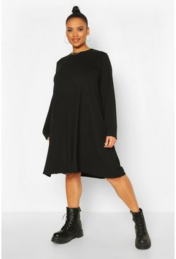 Black Plus Jumbo Rib Swing Dress
