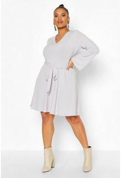 Grey Plus Jumbo Rib V Neck Skater Dress