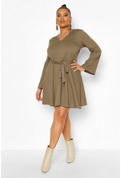 Khaki Plus Jumbo Rib V Neck Skater Dress