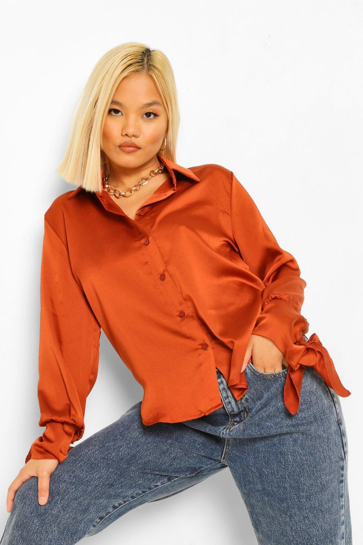 womens petite satin tie cuff shirt - orange - 0