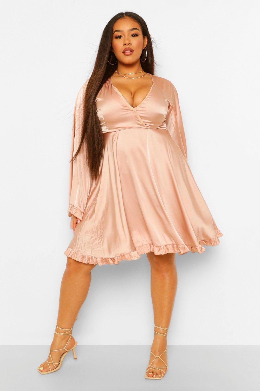 70s Dresses – Disco Dress, Hippie Dress, Wrap Dress Womens Boutique Sequin Wrap Midi Dress - Beige - 8 $17.40 AT vintagedancer.com