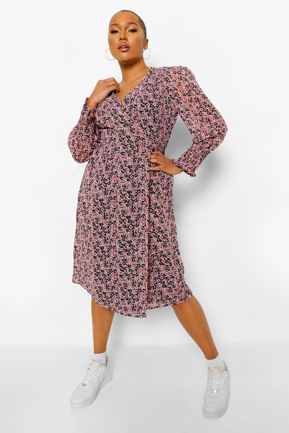 womens plus ditsy floral puff sleeve wrap midi dress - pink - 22