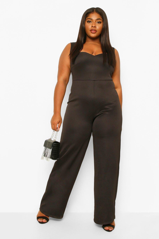 70s Jumpsuit | Disco Jumpsuits, Sequin Rompers Womens Plus Sweetheart Belted Wide Leg Jumpsuit - Black - 16 $16.80 AT vintagedancer.com