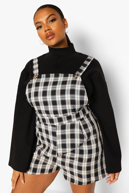 40s-50s Vintage Playsuits, Jumpsuits, Rompers History Womens Plus Flannel Pinafore Romper - Black - 16 $20.00 AT vintagedancer.com