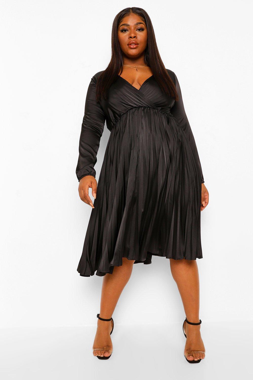 Plus Size Retro Dresses 50s, 60s ,70s, 80s, 90s Womens Plus Satin Wrap Pleated Midi Dress - Green - 24 $19.20 AT vintagedancer.com