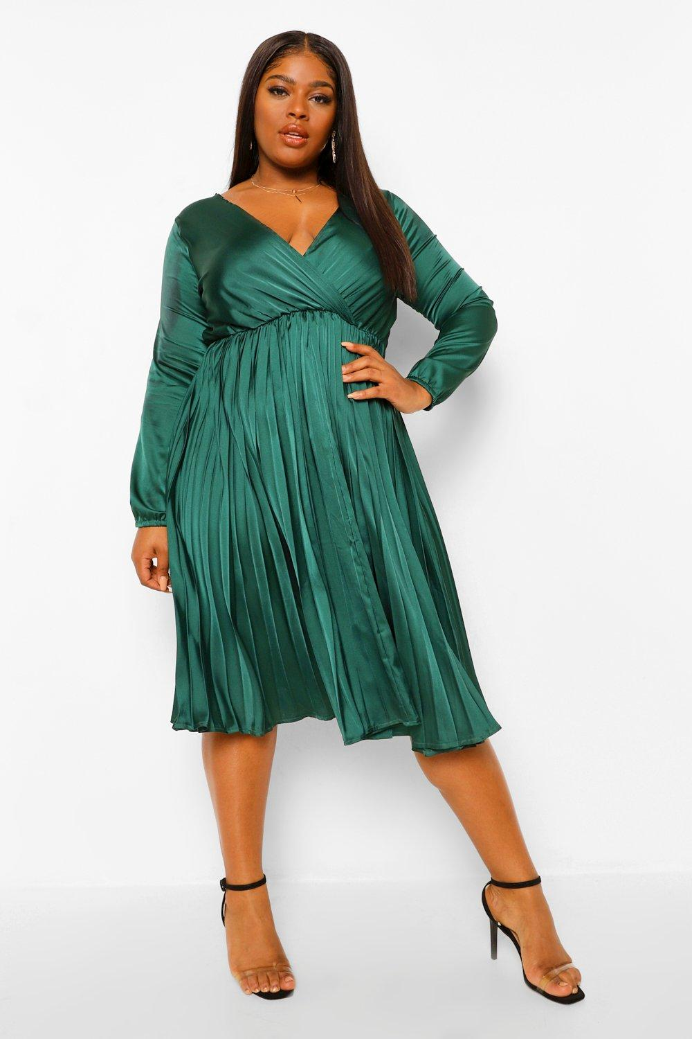 70s Prom, Formal, Evening, Party Dresses Womens Plus Satin Wrap Pleated Midi Dress - Green - 24 $45.00 AT vintagedancer.com