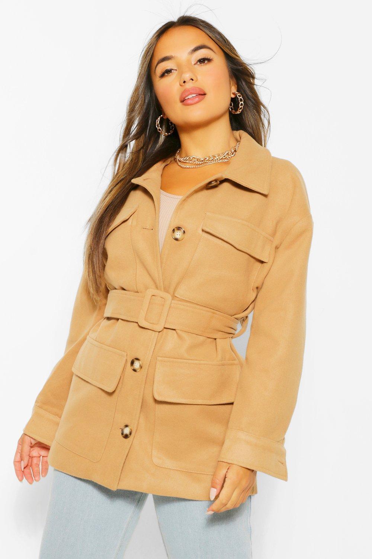 70s Jackets, Furs, Vests, Ponchos Womens Petite Wool Look Belted Jacket - Beige - 10 $60.00 AT vintagedancer.com