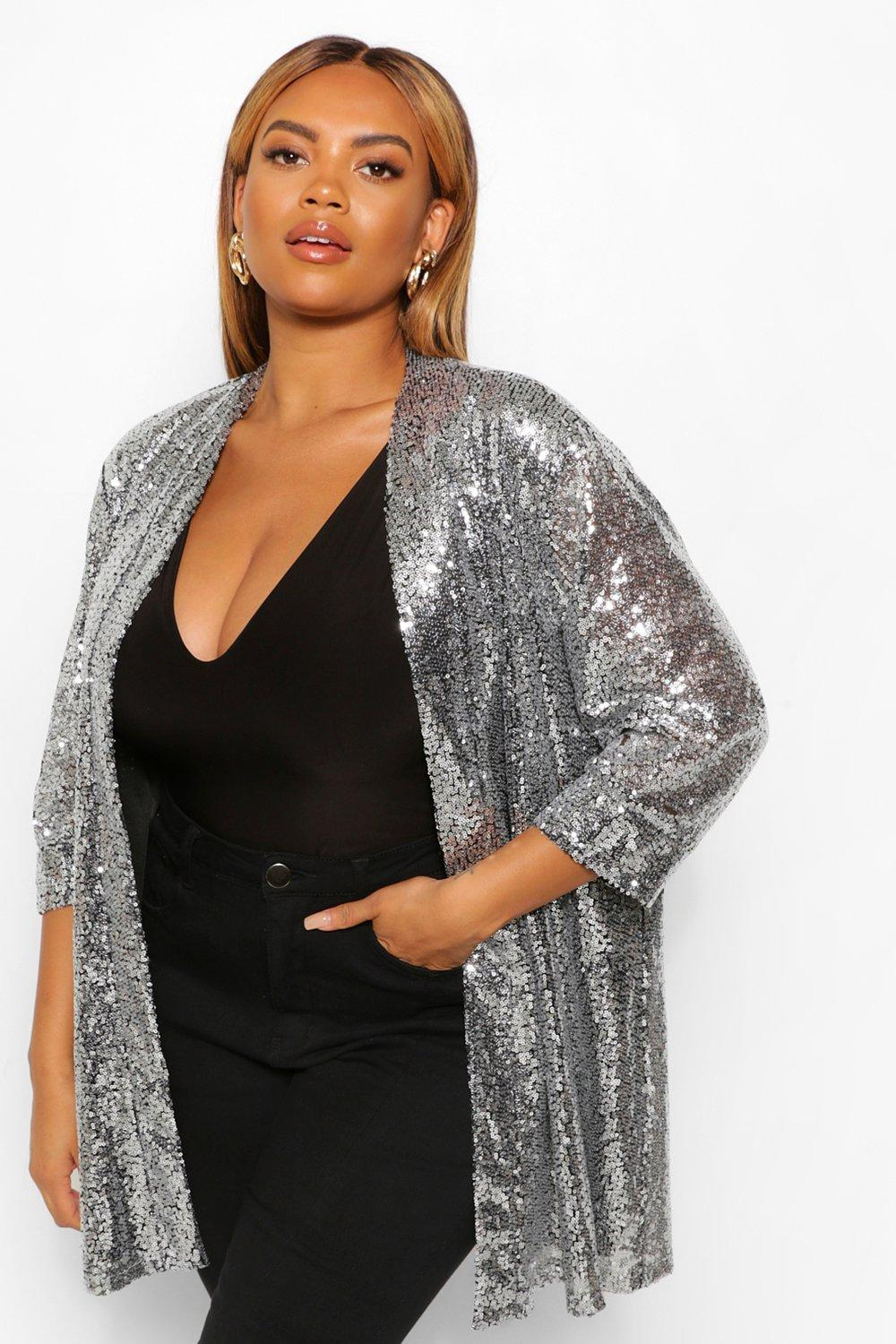 1980s Clothing, Fashion | 80s Style Clothes Womens Plus Sequin 34 Sleeve Duster - Grey - 16 $33.00 AT vintagedancer.com