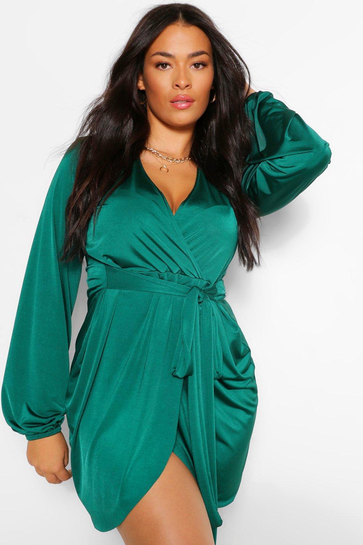 Plus Size Retro Dresses 50s, 60s ,70s, 80s, 90s Womens Plus Disco Slinky Belted Wrap Dress - Green - 16 $17.60 AT vintagedancer.com