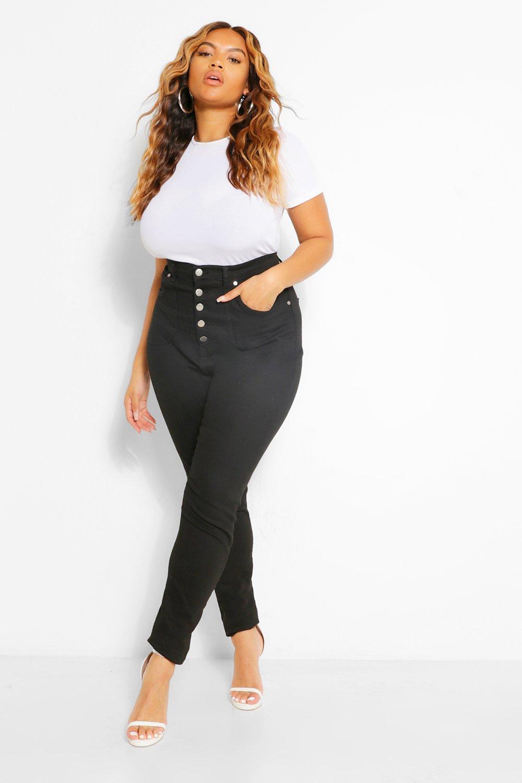 Vintage Pants   High Waisted, Jeans, Sailor Pants Womens Plus Button Highwaisted Shaper Skinny Jean - Black - 16 $22.50 AT vintagedancer.com