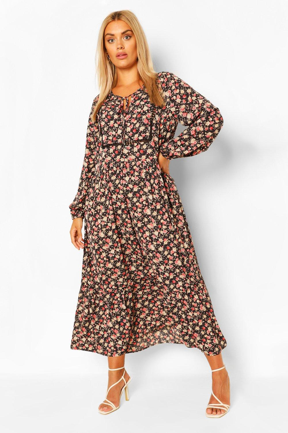 Cottagecore Dresses Aesthetic, Granny, Vintage Womens Plus Floral Smock Boho Maxi Dress - Black - 16 $19.20 AT vintagedancer.com