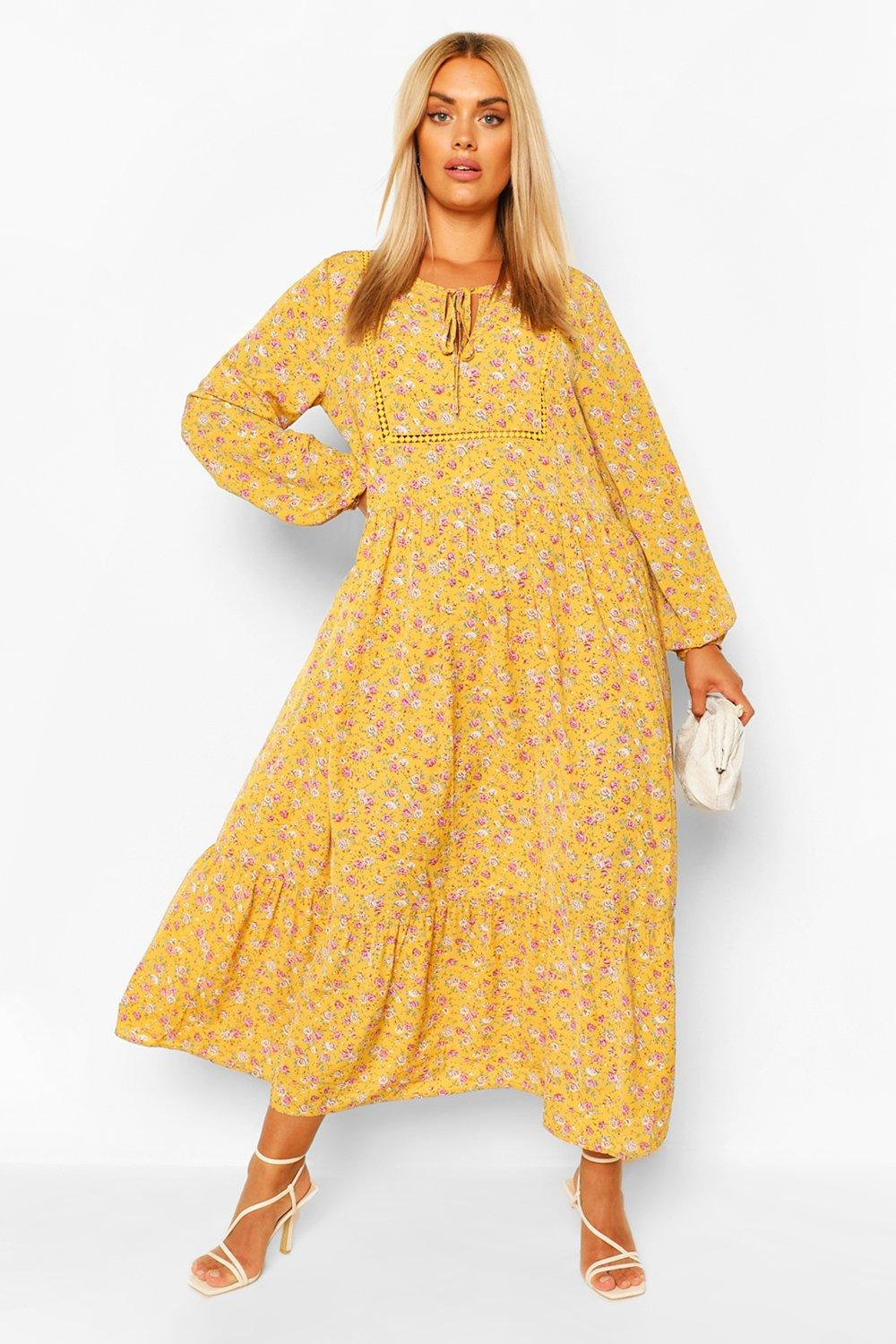 Cottagecore Dresses Aesthetic, Granny, Vintage Womens Plus Floral Smock Boho Maxi Dress - Orange - 14 $19.20 AT vintagedancer.com