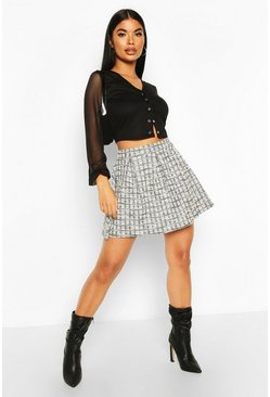 Dam Black Petite Boucle Check Pleated Skater Skirt