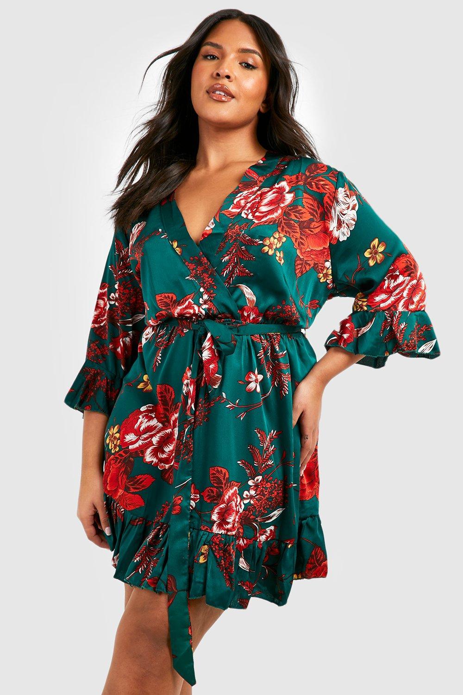 Plus Oriental Floral Wrap Belted Dress 6