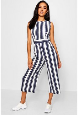 Womens Navy Petite High Neck Striped Jumpsuit