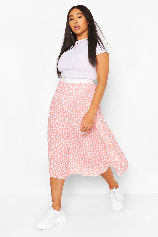 Plus Pastel Leopard Pleated Midi Skirt 2