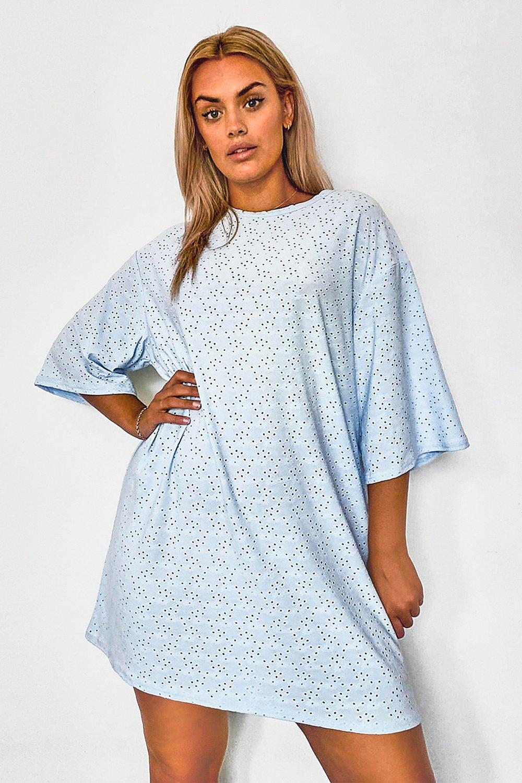 Plus Broderie Super Oversized T-Shirt Dress 8