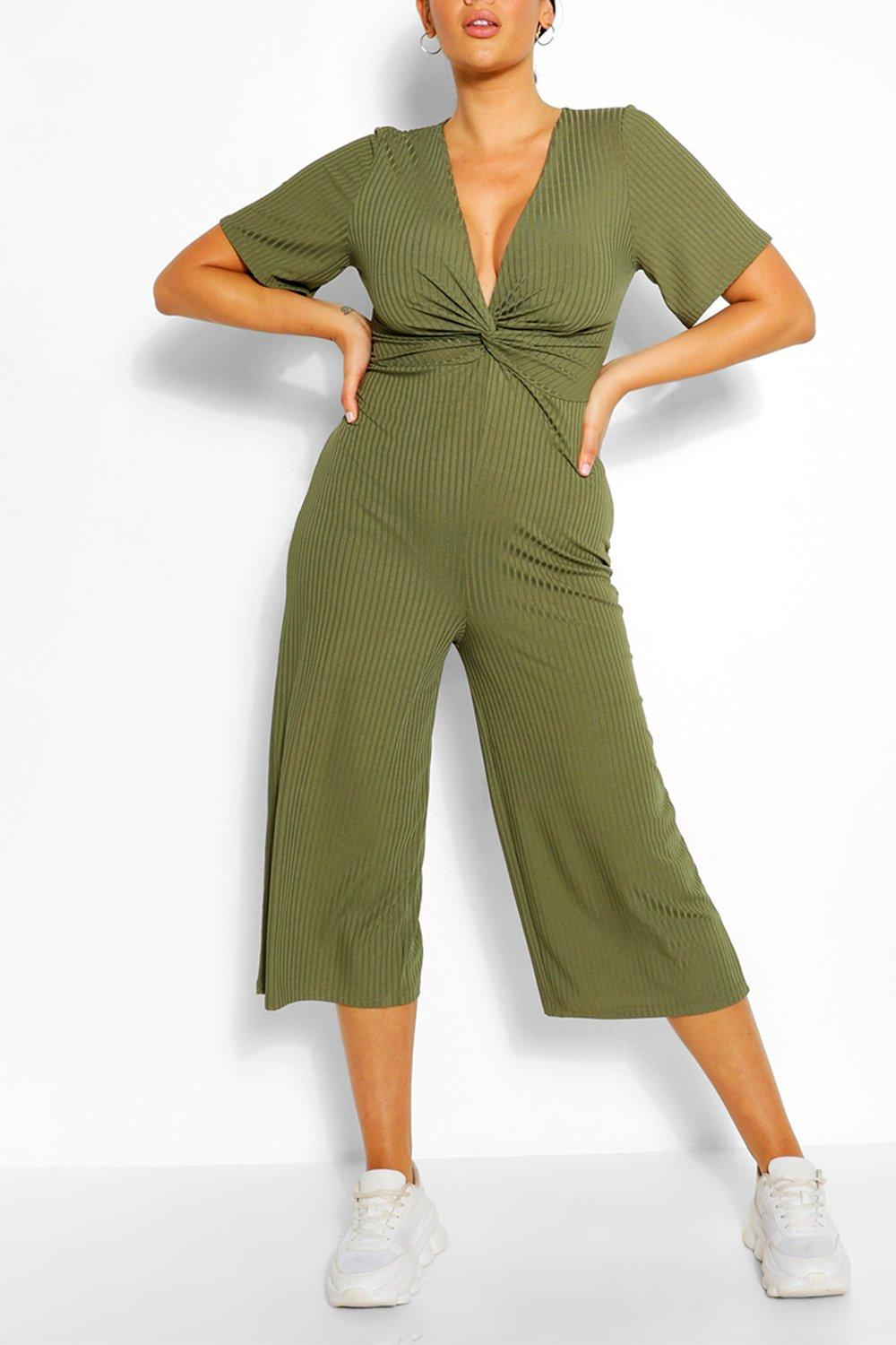 Plus Ribbed Twist Detail Jumpsuit 2