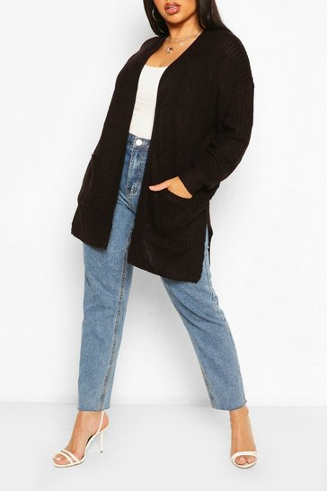 Black Plus Fisherman Rib Oversized Boyfriend Cardigan