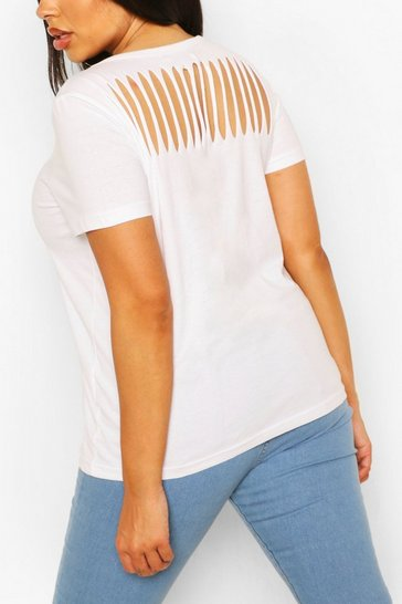 White Plus Slash Back T-Shirt