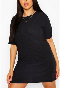 Black Plus Basic Soft Rib Oversized T-Shirt Dress
