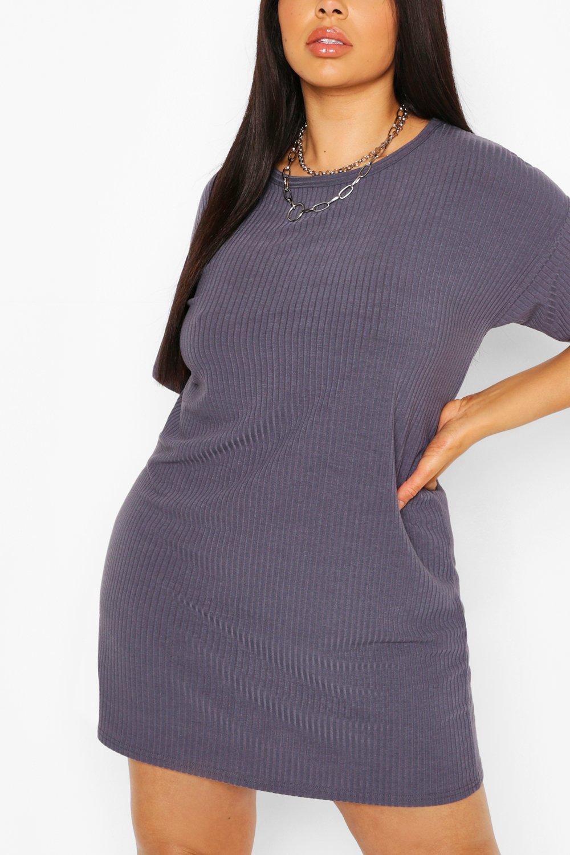 Plus Basic Soft Rib Oversized T-Shirt Dress 8