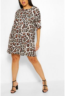 Plus Leopard Print Oversized T-shirt Dress, Stone