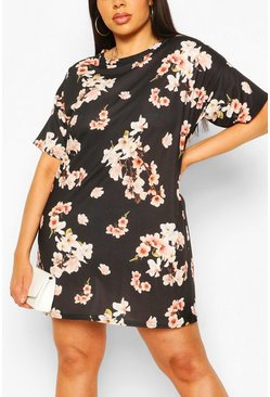 Black Plus Ditsy Floral Print Oversized T-shirt Dress