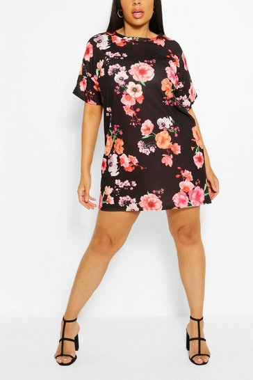 Black Plus Floral Oversized T-Shirt Dress