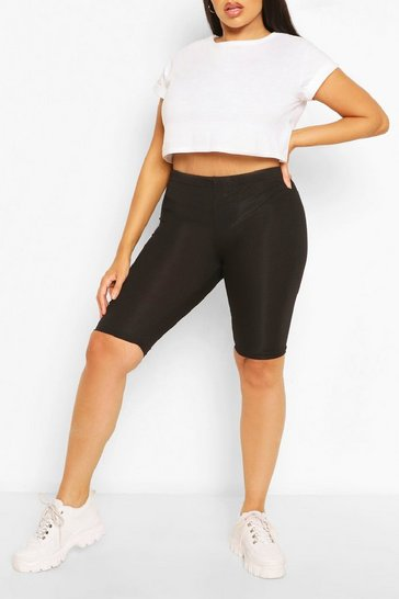 Black Plus Rib Longline Cycle Short