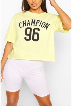 Petite Oversized Cropped Sporty Slogan T-Shirt, Yellow