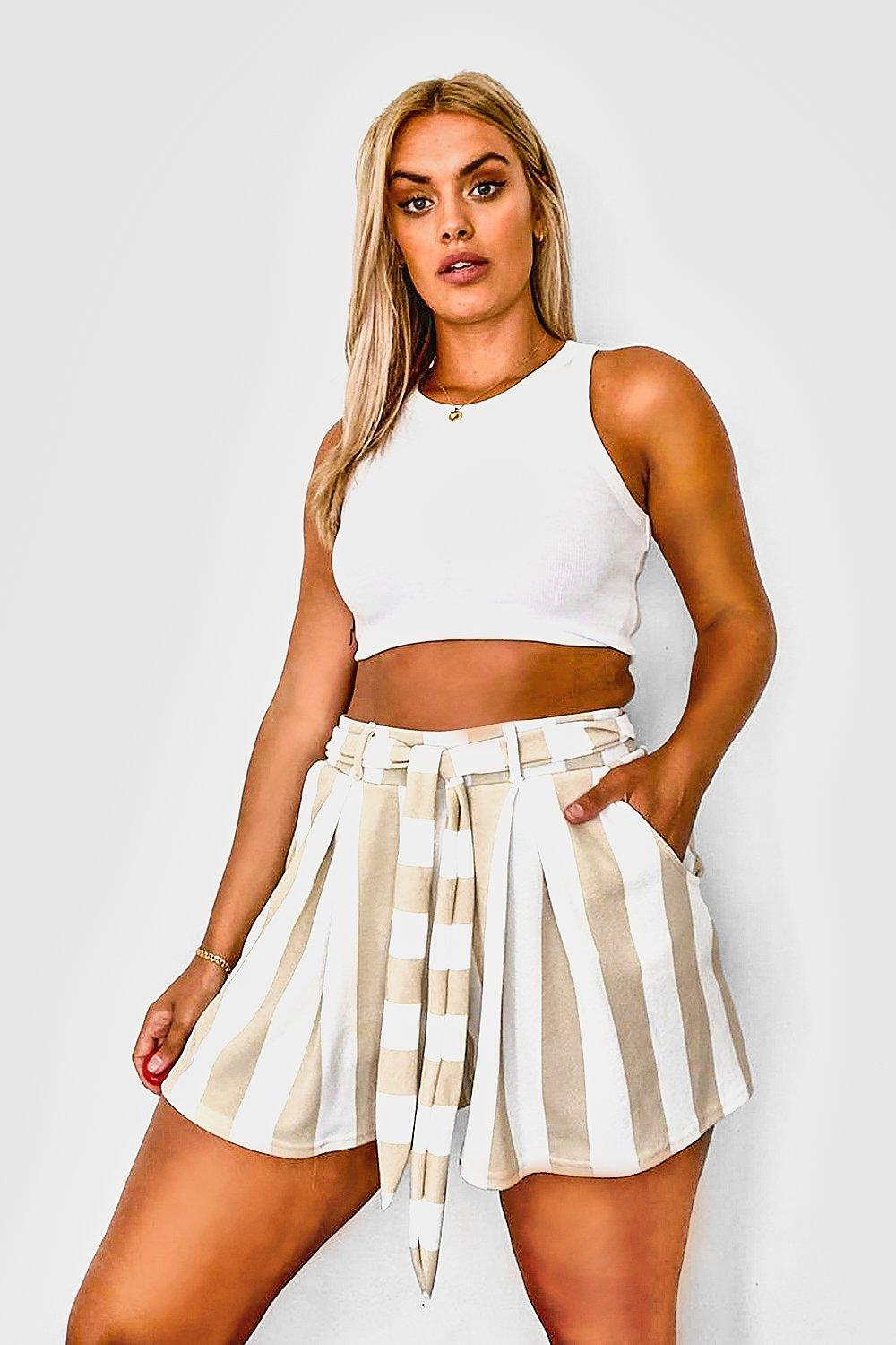 Plus Stripe Belted Tailored Short 8