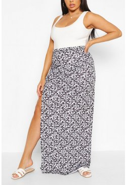 Black Plus Ditsy Floral Side Split Maxi Skirt