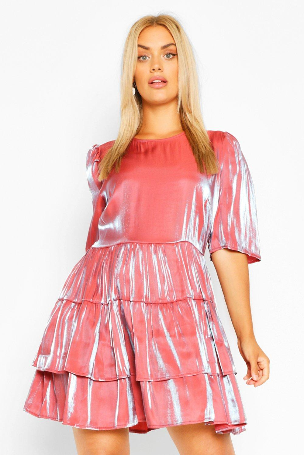 80s Dresses | Casual to Party Dresses Womens Plus Satin Ruched Ruffle Skater Dress - Red - 16 $24.00 AT vintagedancer.com