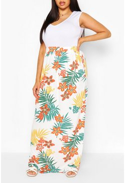 Green Plus Tropical  Leaf Beach Maxi Skirt