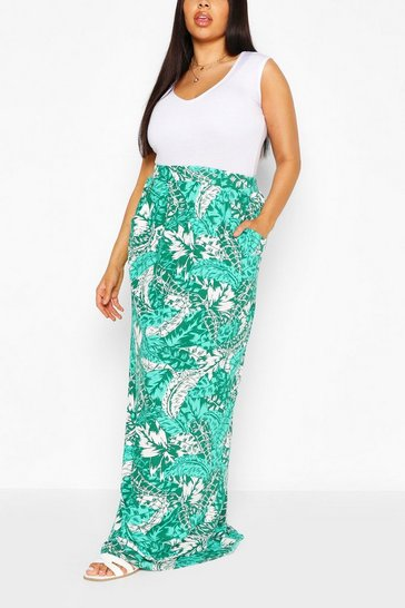 Green Plus Tropical  Beach Maxi Skirt