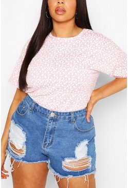 Lilac Plus Mono Ditsy Floral Oversized T-Shirt